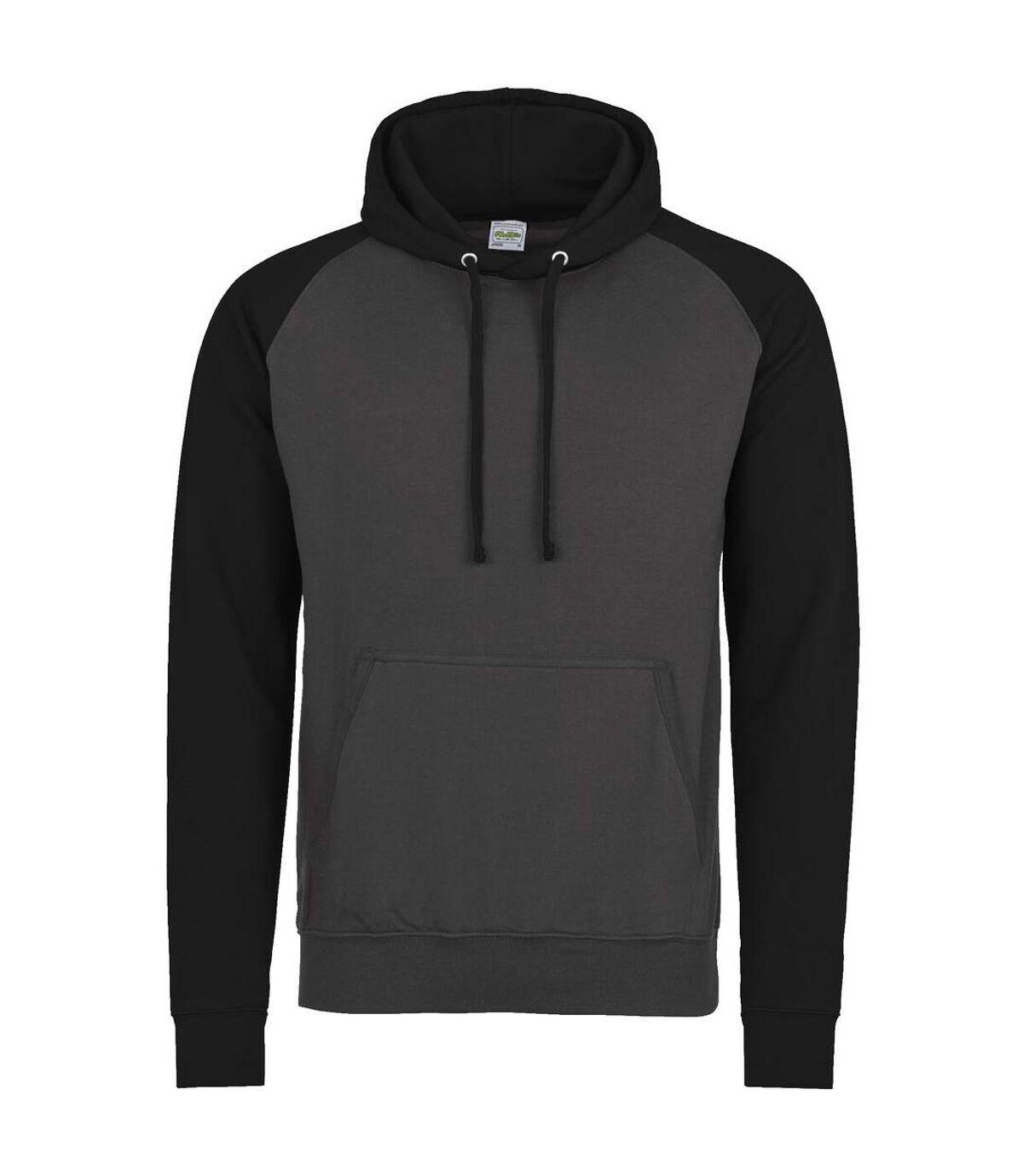 Awdis Just Hoods Adults Unisex Two Tone Hooded Baseball Sweatshirt/Hoodie (Oxford Navy/Burgundy) - UTRW3928