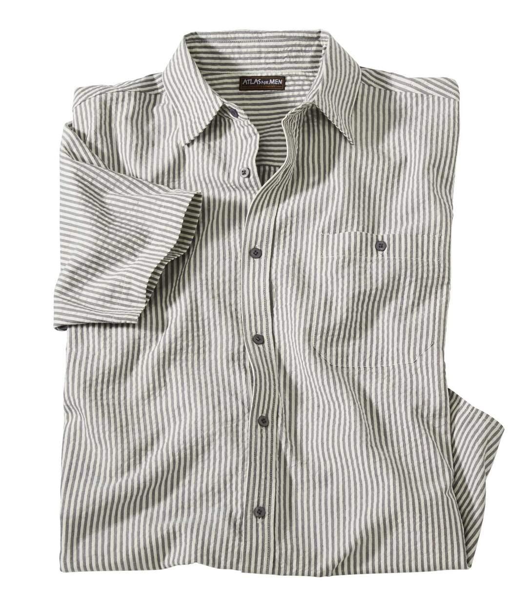 Gestreept overhemd met gewafeld effect