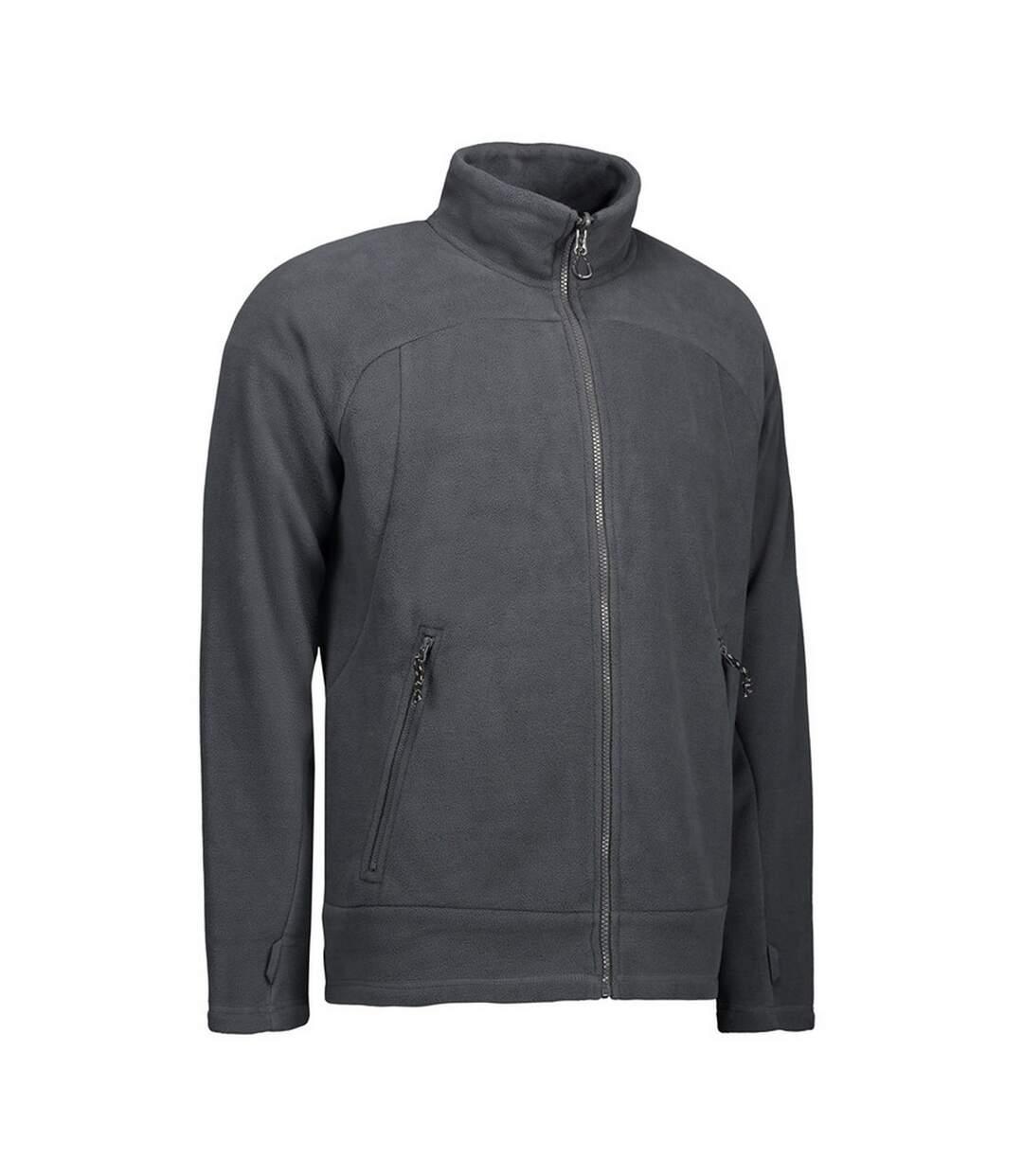 ID Mens Zip N Mix Active Fleece Jacket (Grey) - UTID425