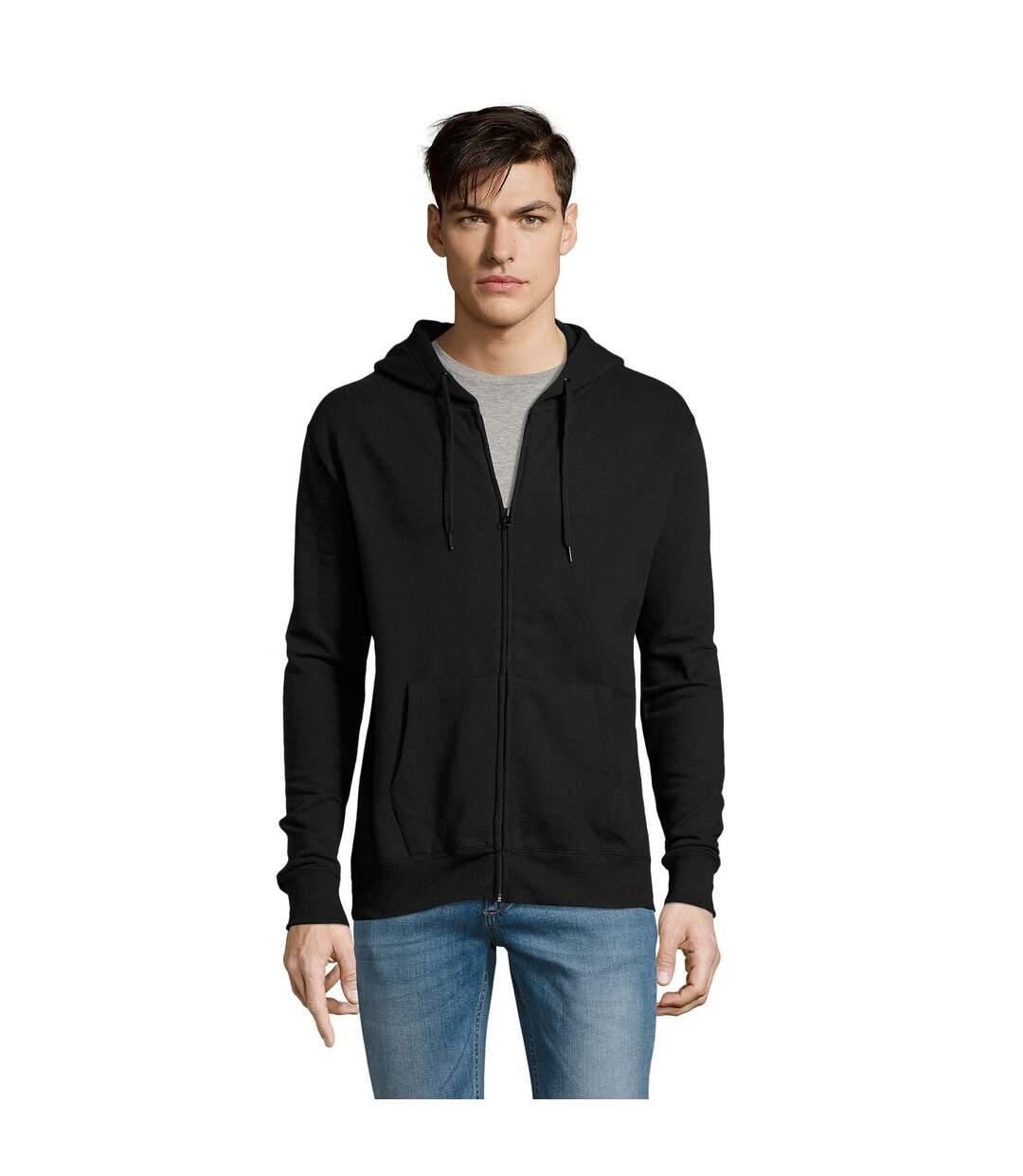 SOLS Mens Seven Full Zip Hooded Sweatshirt / Hoodie (Black) - UTPC340
