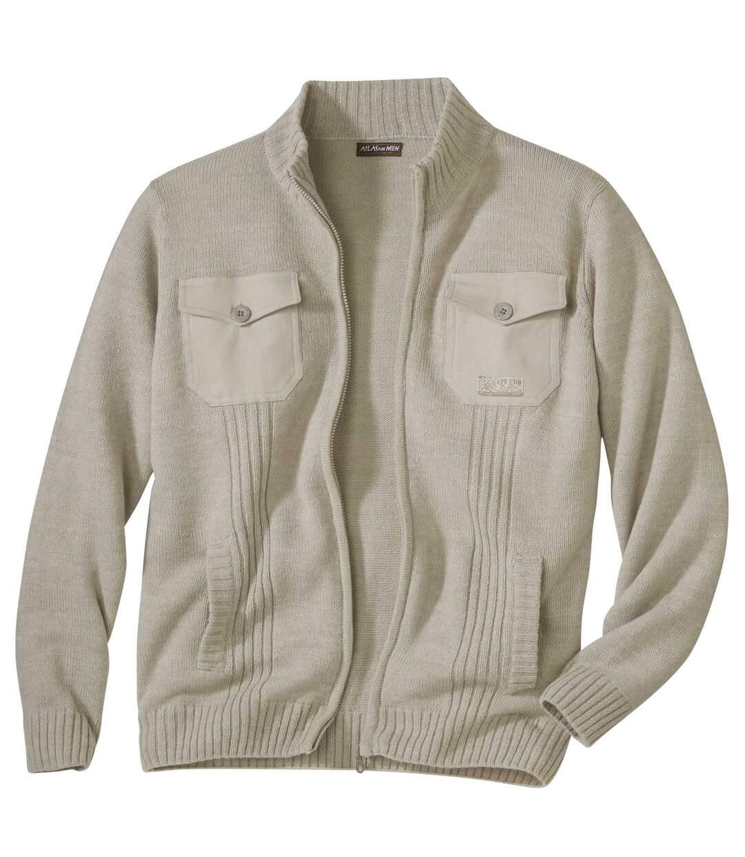 Pletený béžový sveter na zips