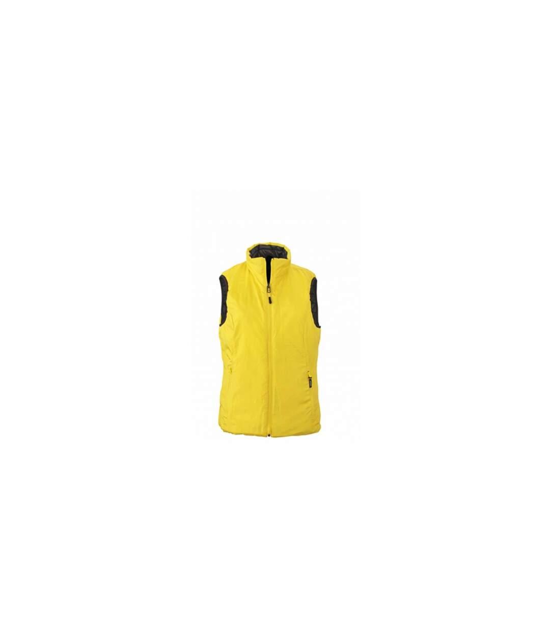 Doudoune sans manche FEMME JN1089 - noir - yellow - réversible légère fine