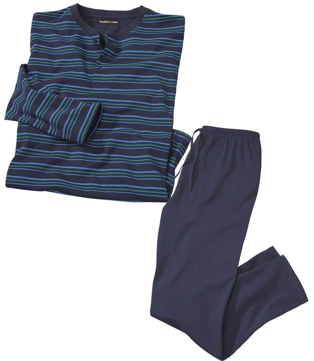 Gestreifter Schlafanzug mit Henleykragen