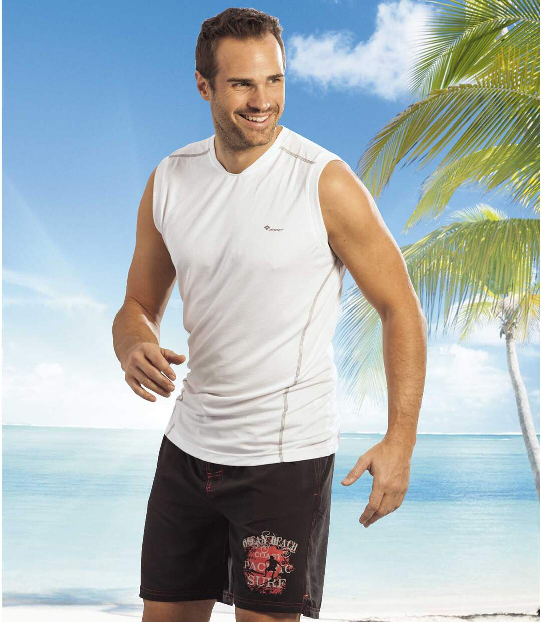Men's Long Beach Swim Shorts - Black Red