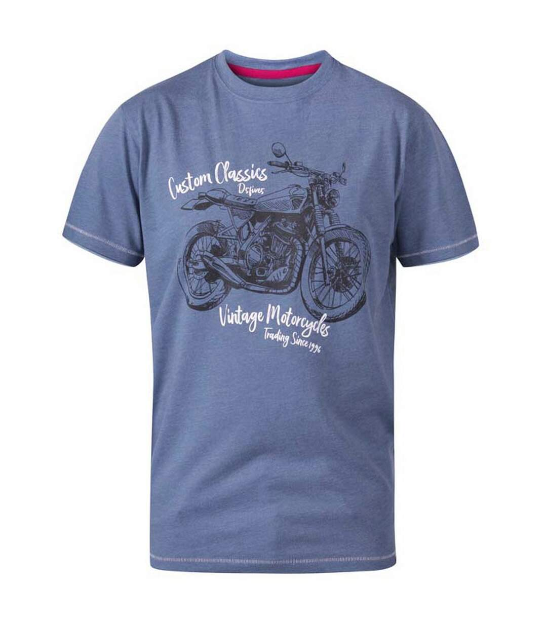 Duke Mens Conor D555 Custom Classic Motorcycle T-Shirt (Denim Marl) - UTDC287