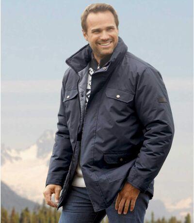 Men's Navy Multi-Pocket Parka Coat