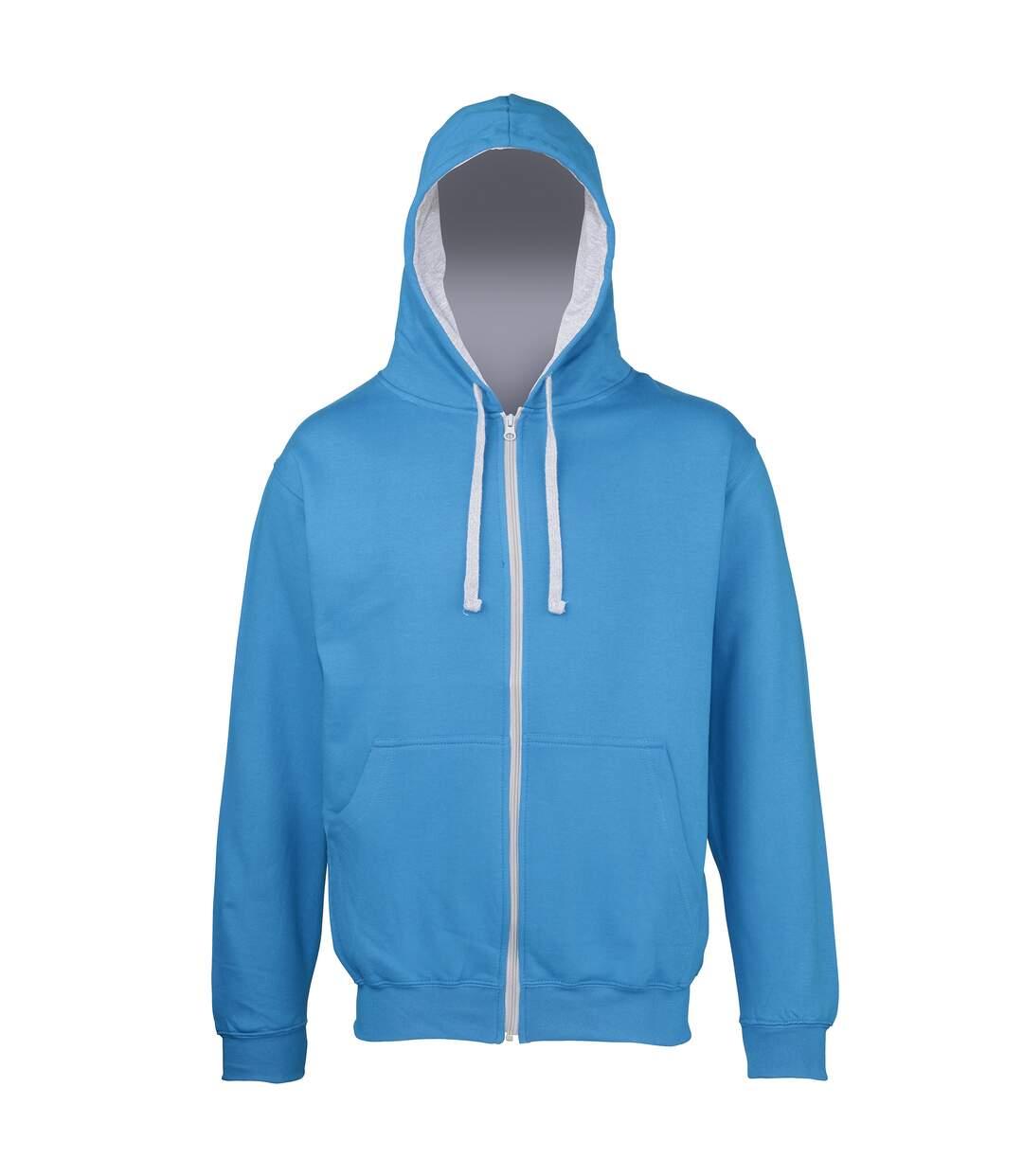 Awdis Mens Varsity Hooded Sweatshirt / Hoodie / Zoodie (Jet Black/Heather Grey) - UTRW182