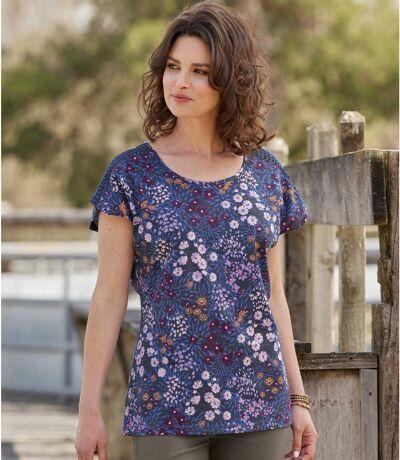 Women's Navy Floral Macramé T-Shirt