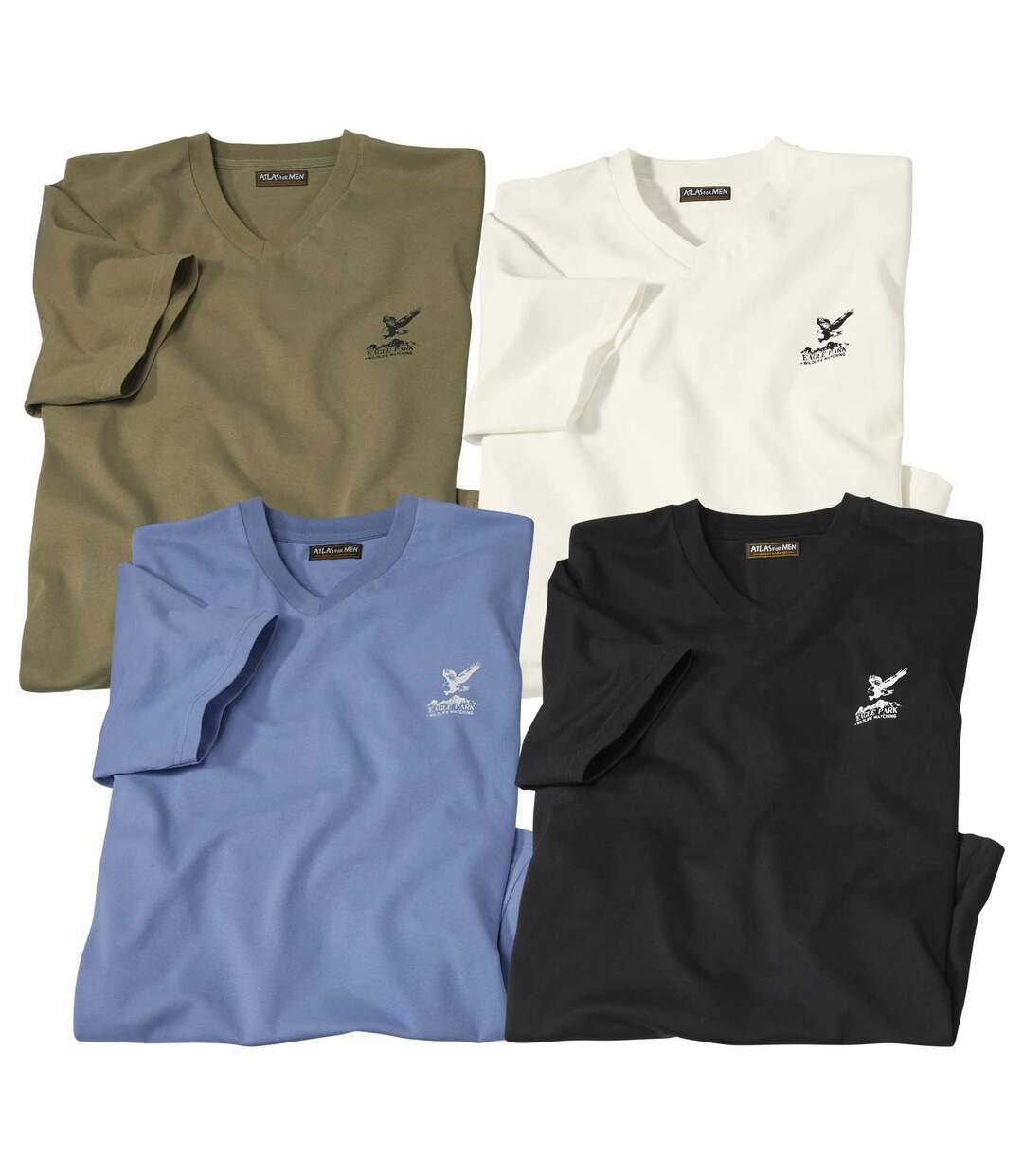 Zestaw 4 t-shirtów z dekoltem V Escape