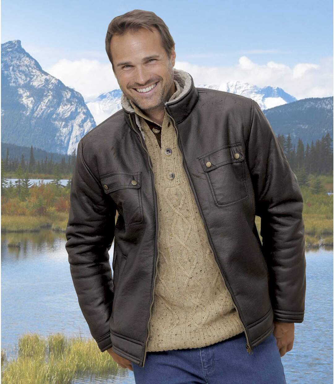 Men's Brown Faux Suede Bomber Jacket with Sherpa Lining and Full Zip