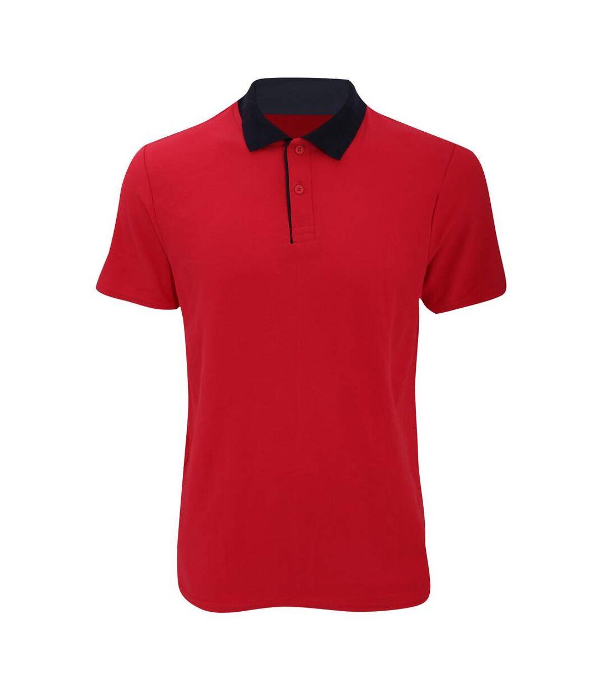 Anvil Mens Fashion Double Pique Plain Polo Shirt (210 GSM) (Red/ Navy) - UTRW2535