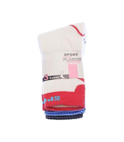 Chaussette Mi-Hautes - Lot de 3 - Semelle bouclette - Colorées - Multisport - Epaisse - Coton - Blanc - Sport Flashy