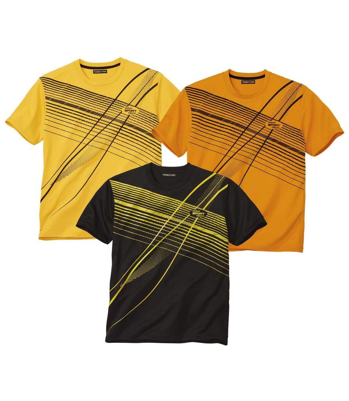 Pack of 3 Men's Sports T-Shirts - Yellow Orange Black Atlas For Men