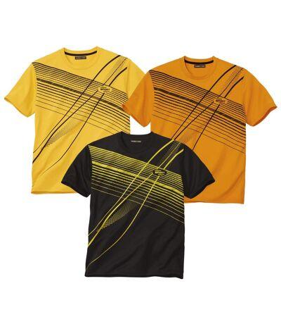 Pack of 3 Men's Sports T-Shirts - Yellow Orange Black