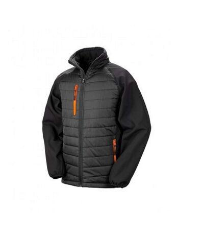 Result Mens Black Compass Padded Soft Shell Jacket (Black/Orange) - UTPC3326
