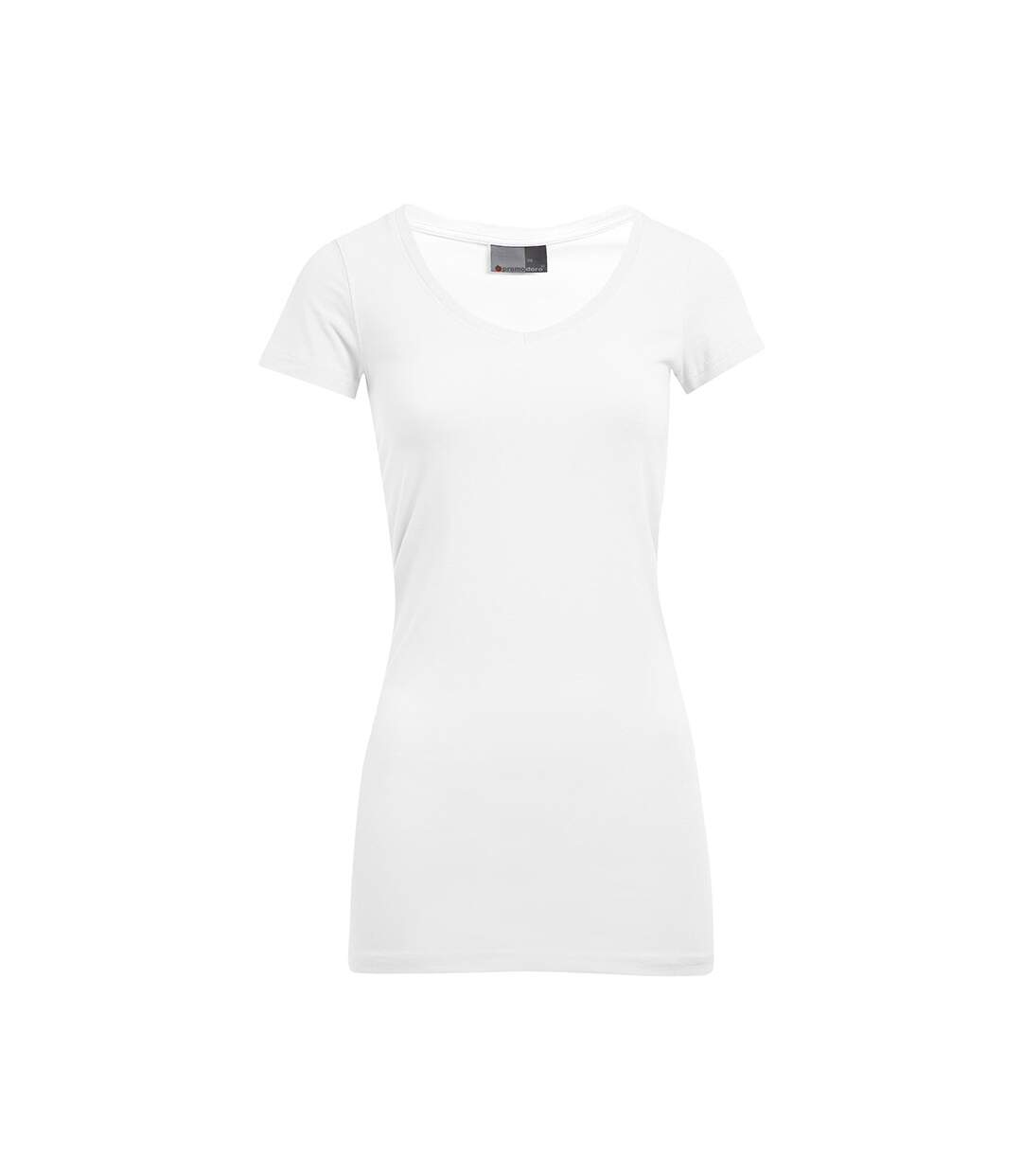 T-shirt long col V slim Femmes