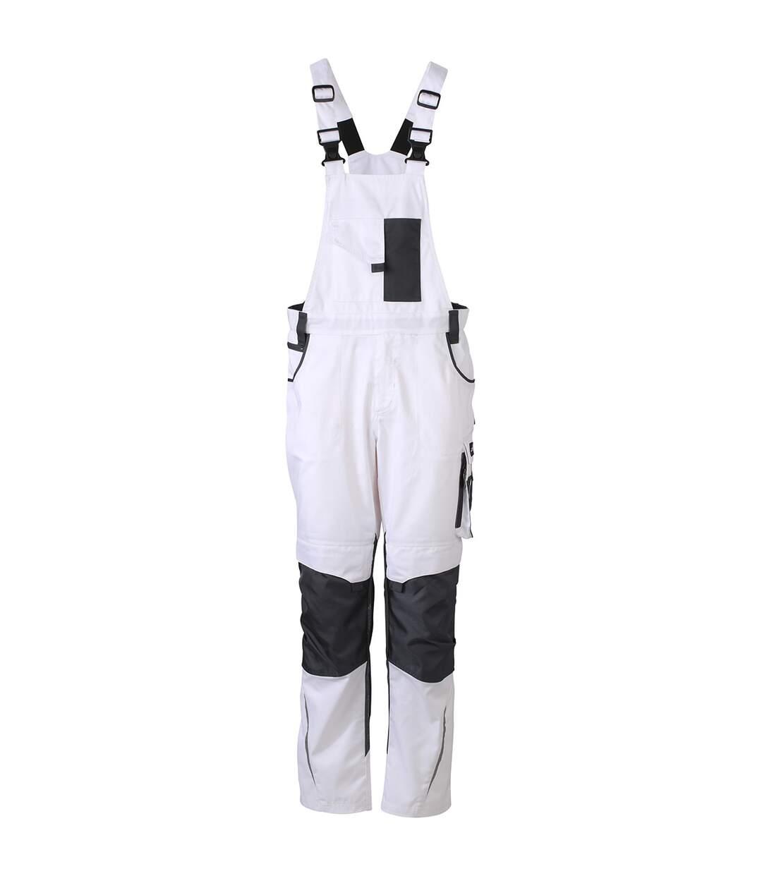 Pantalon de travail homme à bretelles - JN833 - blanc - salopette artisan
