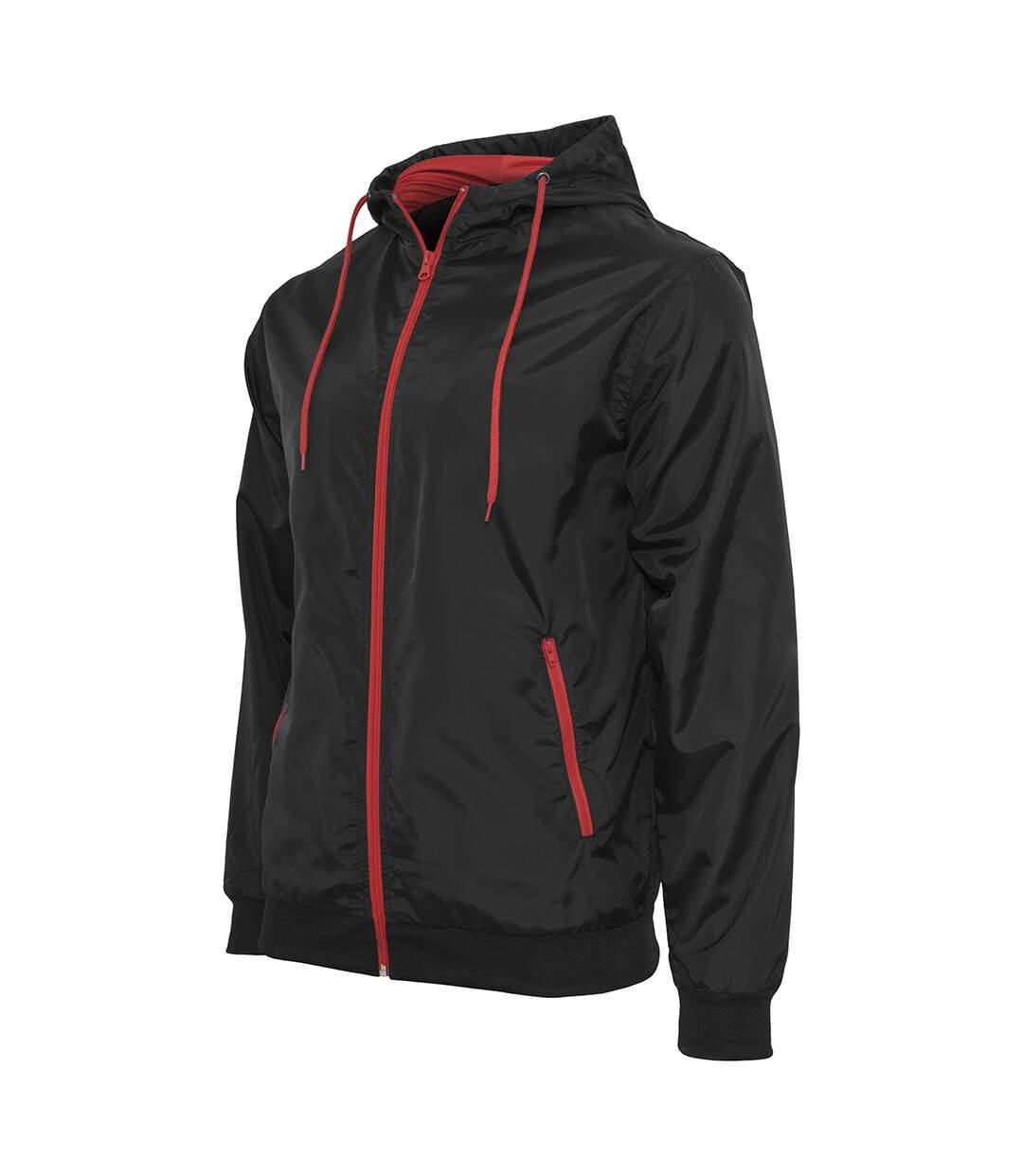 Build Your Brand Mens Zip Up Wind Runner Jacket (Black/Red) - UTRW5676