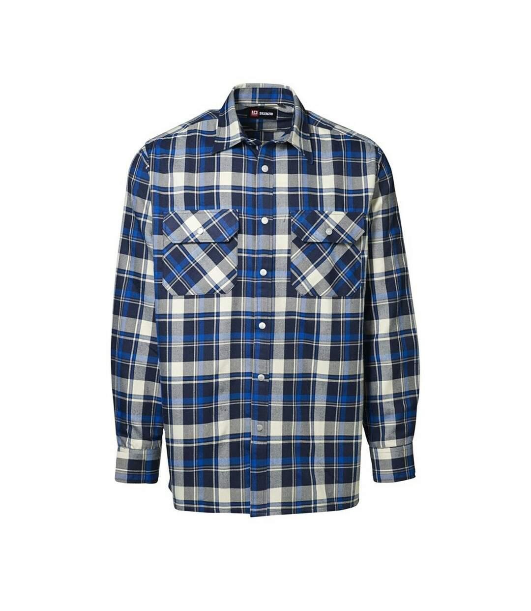 Id - Chemise À Carreaux À Manches Longues 100% Coton (Coupe Régulière) - Homme (Bleu roi) - UTID154