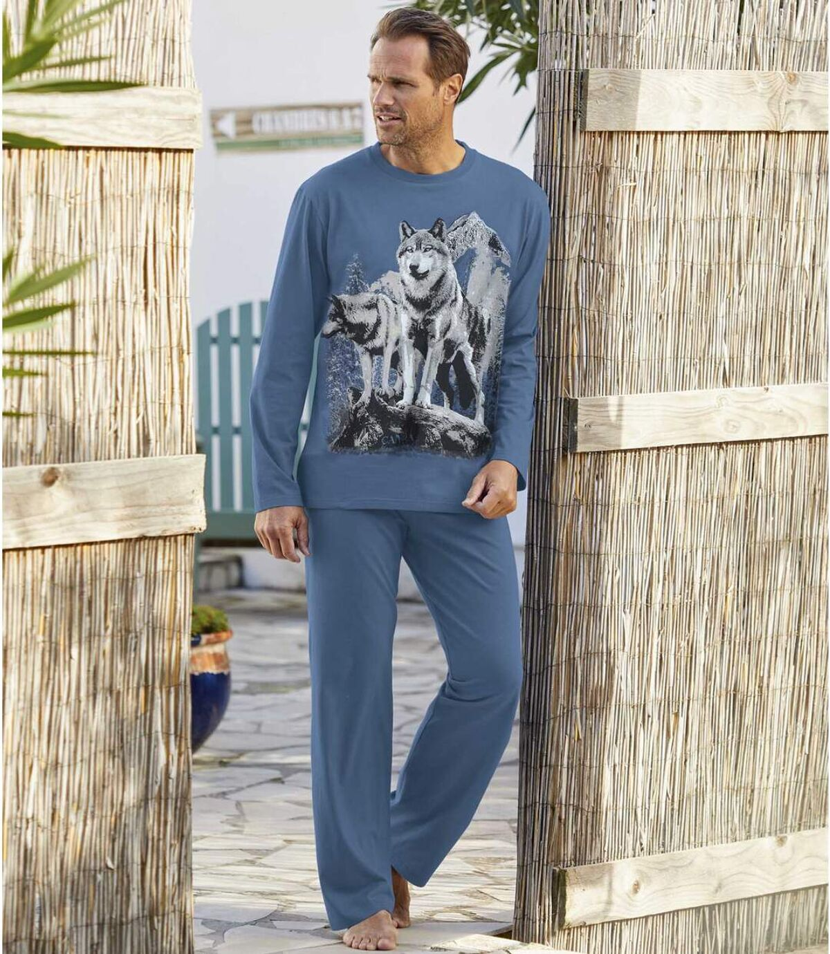 Men's Wolf Print Pajamas  Atlas For Men