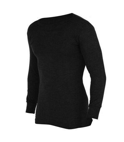 FLOSO Mens Thermal Underwear Long Sleeve Vest Top (Viscose Premium Range) (Black) - UTTHERM107