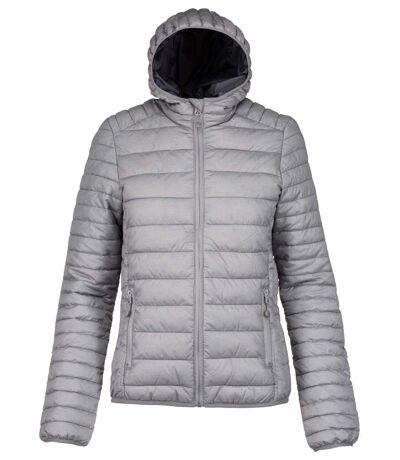 Doudoune légère à capuche - K6111 - gris argent - Femme