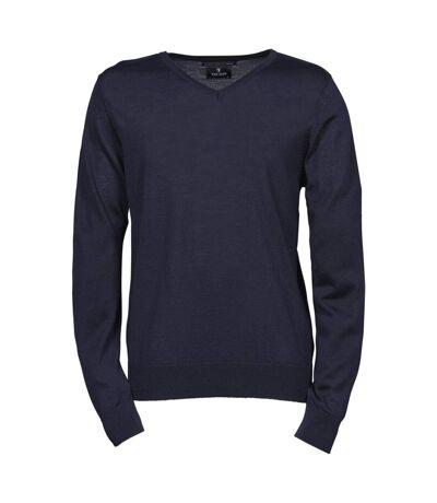 Pull classique laine col v - HOMME - 6001 - bleu marine