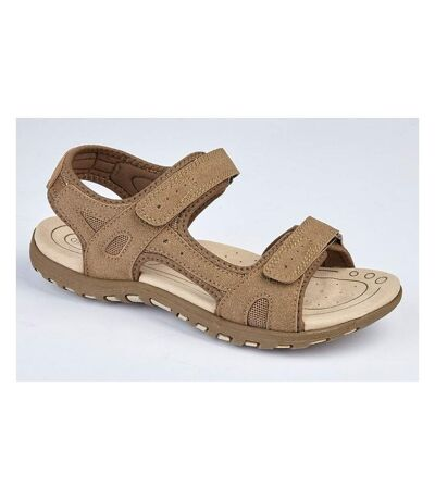 PDQ Ladies/Womens Twin Touch Fastening Sandals (Dark Taupe) - UTDF1742