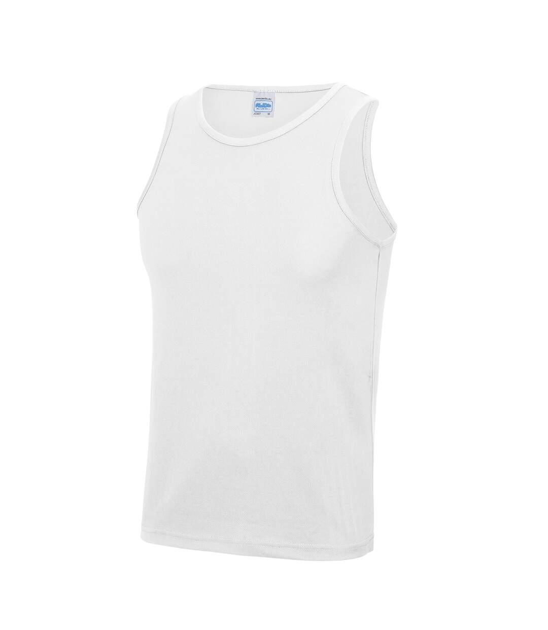 Just Cool Mens Sports Gym Plain Tank / Vest Top (Arctic White) - UTRW687
