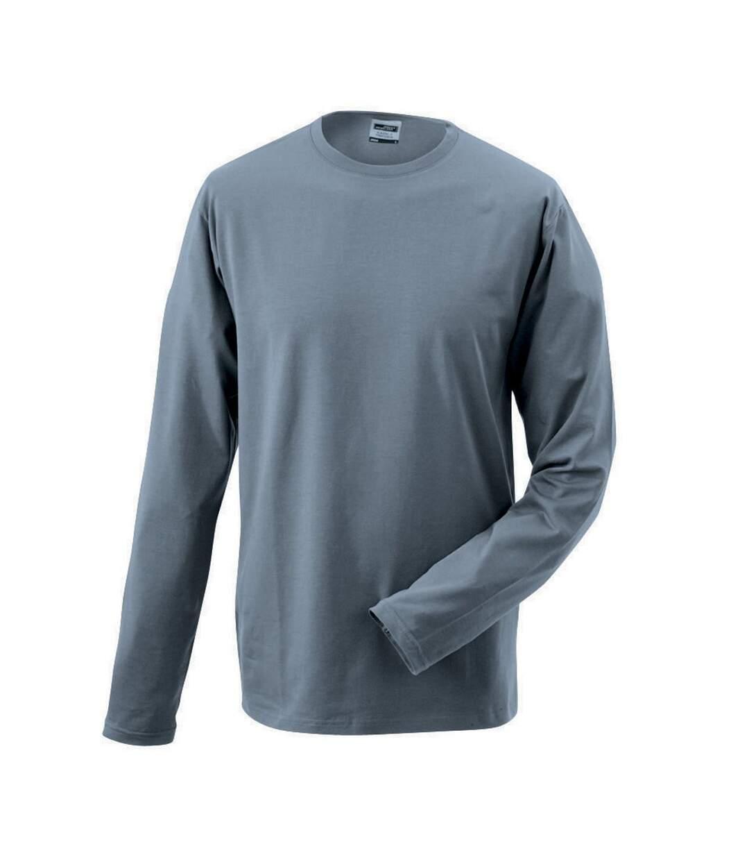 T-shirt stretch homme manches longues - JN056 - gris moyen