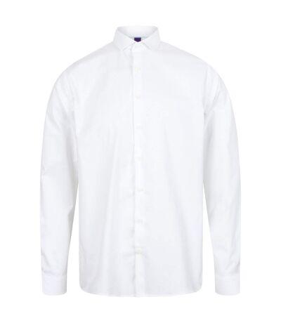 Henbury Mens Long Sleeve Stretch Shirt (White) - UTRW6513