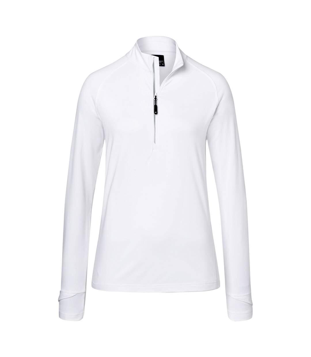 James And Nicholson - T-Shirt Zippé - Femme (Blanc) - UTFU942