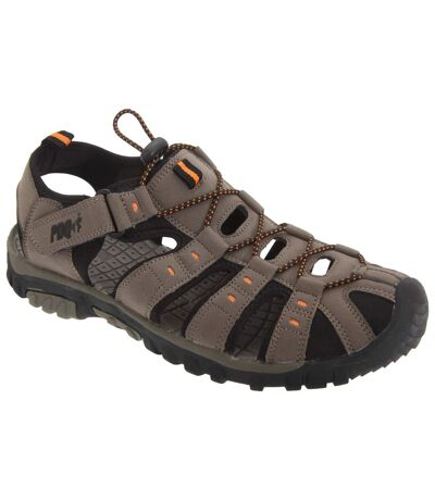 PDQ Mens Toggle & Touch Fastening Synthetic Nubuck Trail Sandals (Dark Taupe/Orange) - UTDF555