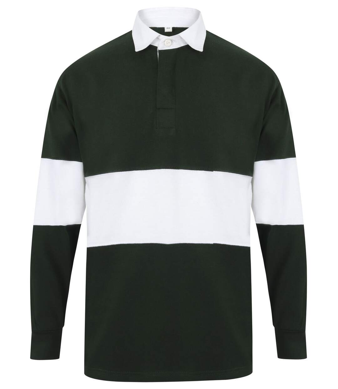 Maillot col polo de rugby homme - FR07M - vert bouteille et blanc