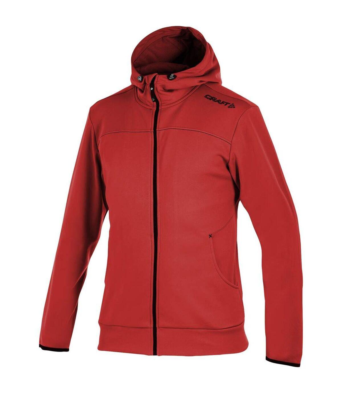 Craft Mens Leisure Athletic Full Zip Hoodie Jacket (Red) - UTRW4131