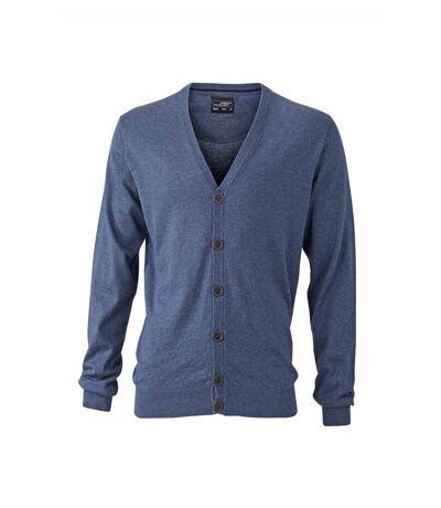 Pull boutonné cardigan cachemire - HOMME - JN668 - bleu denim