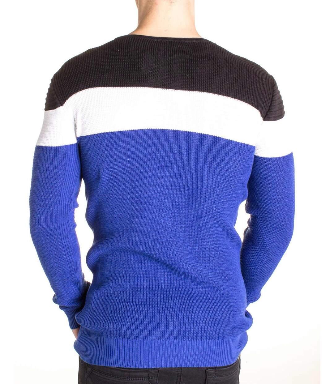 Pull fin col rond tri color bleu