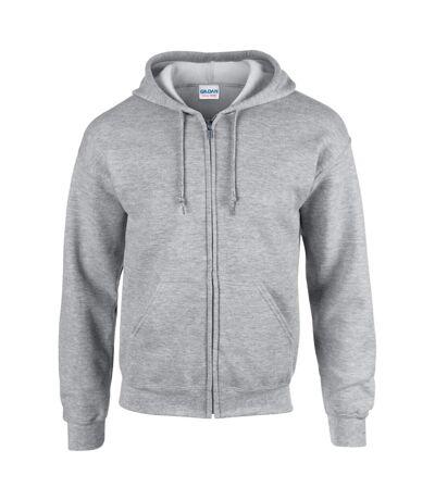 Gildan Heavy Blend Unisex Adult Full Zip Hooded Sweatshirt Top (Sport Grey) - UTBC471
