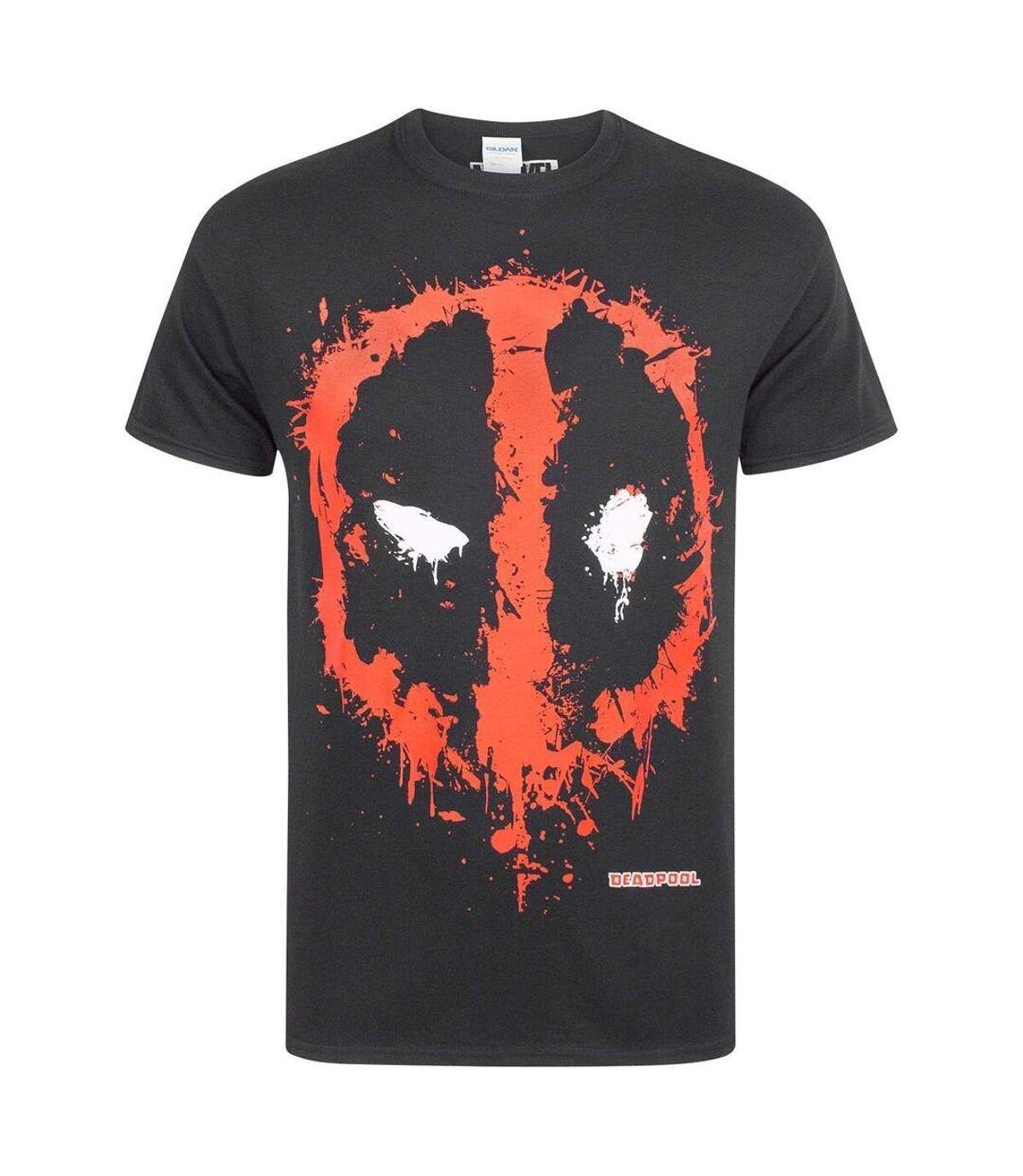 Marvel Official Deadpool Mens Splat Logo T-Shirt (Black) - UTNS4926