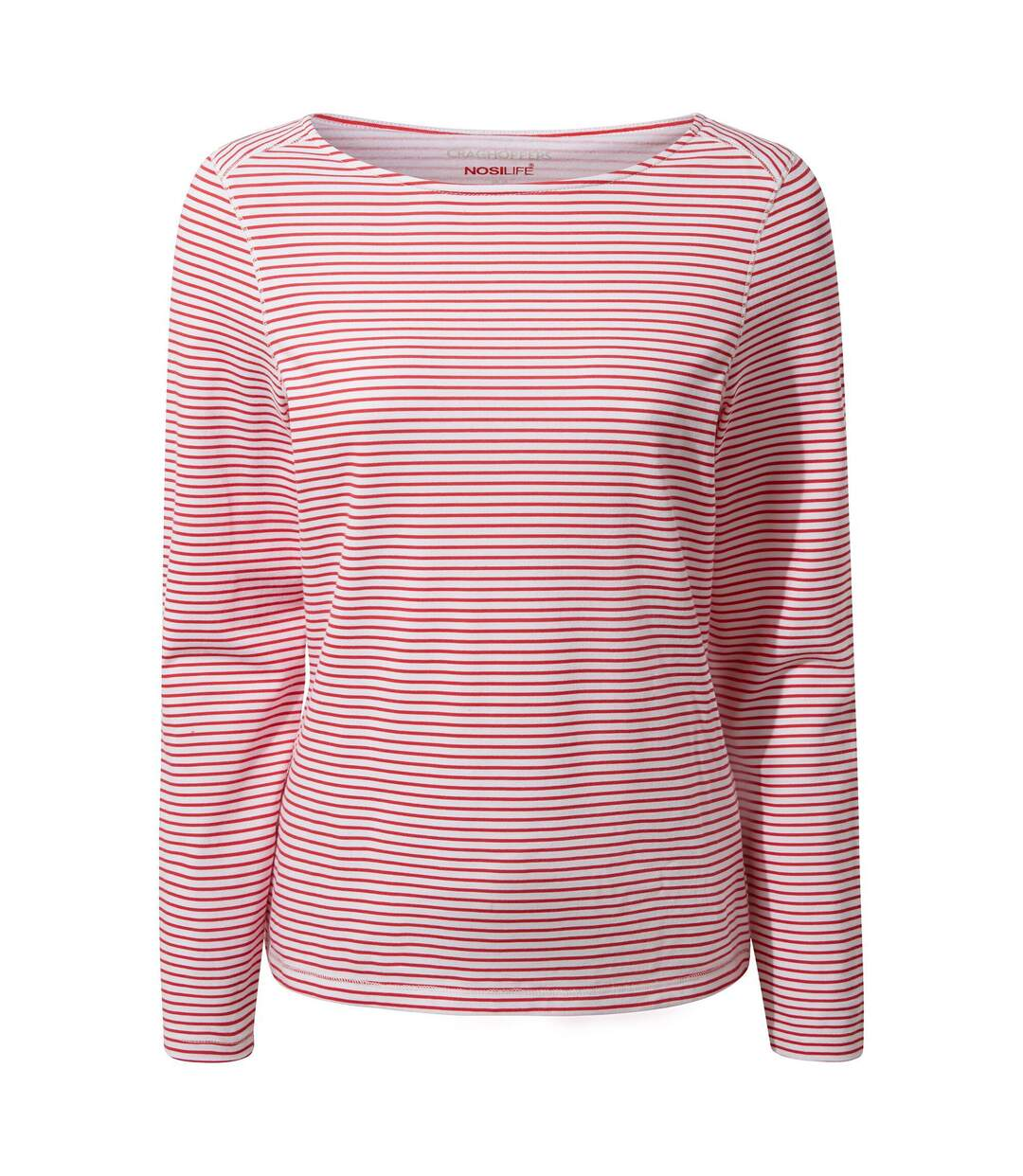 Craghoppers - T-Shirt Manches Longues Erin - Femme (Rouge/blanc) - UTCG1284