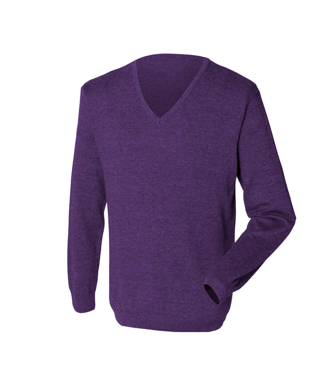 Henbury Mens 12 Gauge Fine Knit V-Neck Jumper / Sweatshirt (Purple) - UTRW659