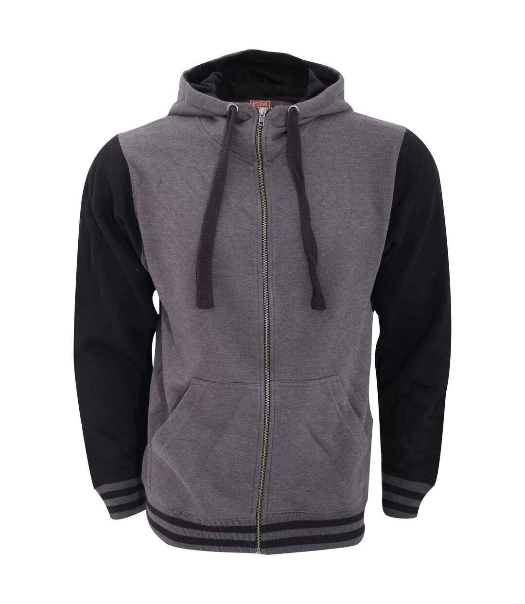 FDM Mens Active Zip Hoodie (Charcoal/Black) - UTBC3183