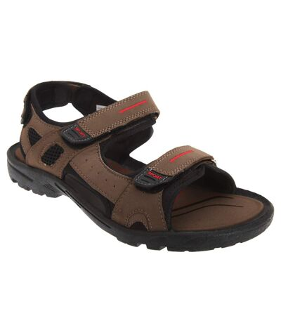 PDQ Mens Triple Touch Fastening Sports Sandals (Brown) - UTDF802