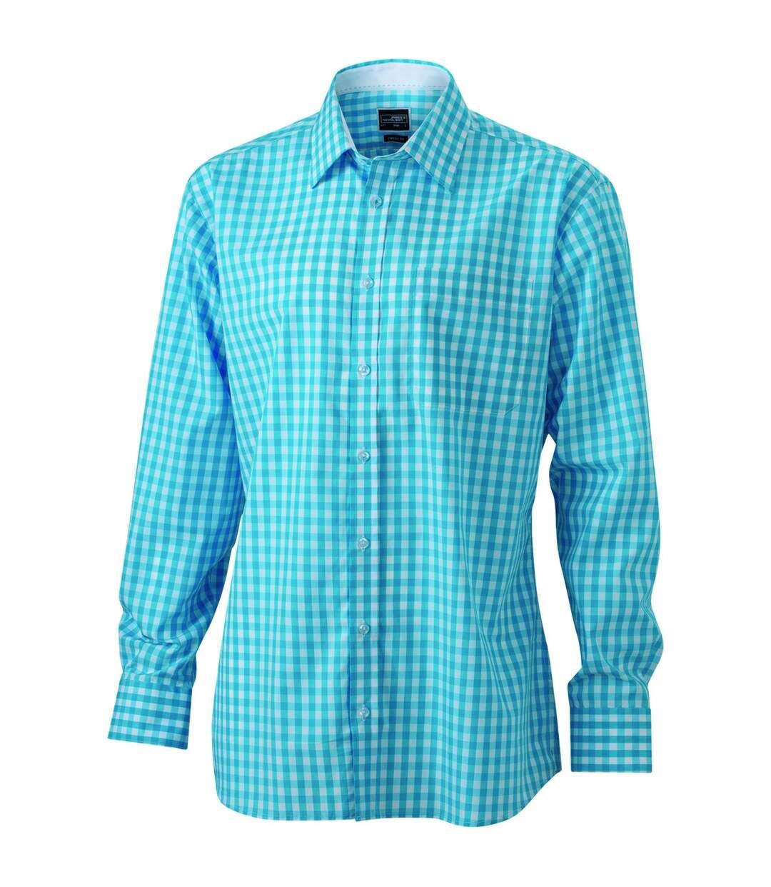chemise manches longues carreaux vichy HOMME JN617 - bleu turquoise