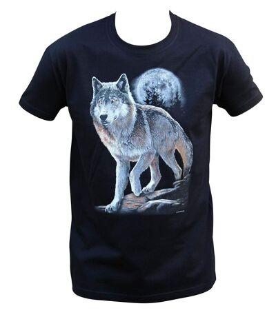 T-shirt homme manches courtes - Loup - 10380 - noir