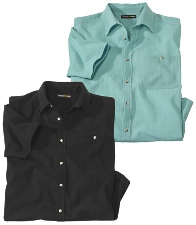 2er-Pack Hemden aus Waffel-Krepp