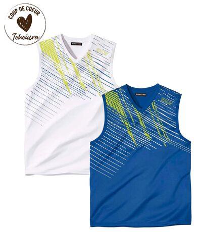 Lot de 2 Tee-Shirts Sans Manches Col V Sport