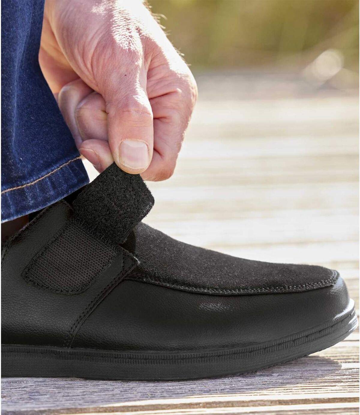 Men's Black Leather Hook-and-Loop Moccasins Atlas For Men
