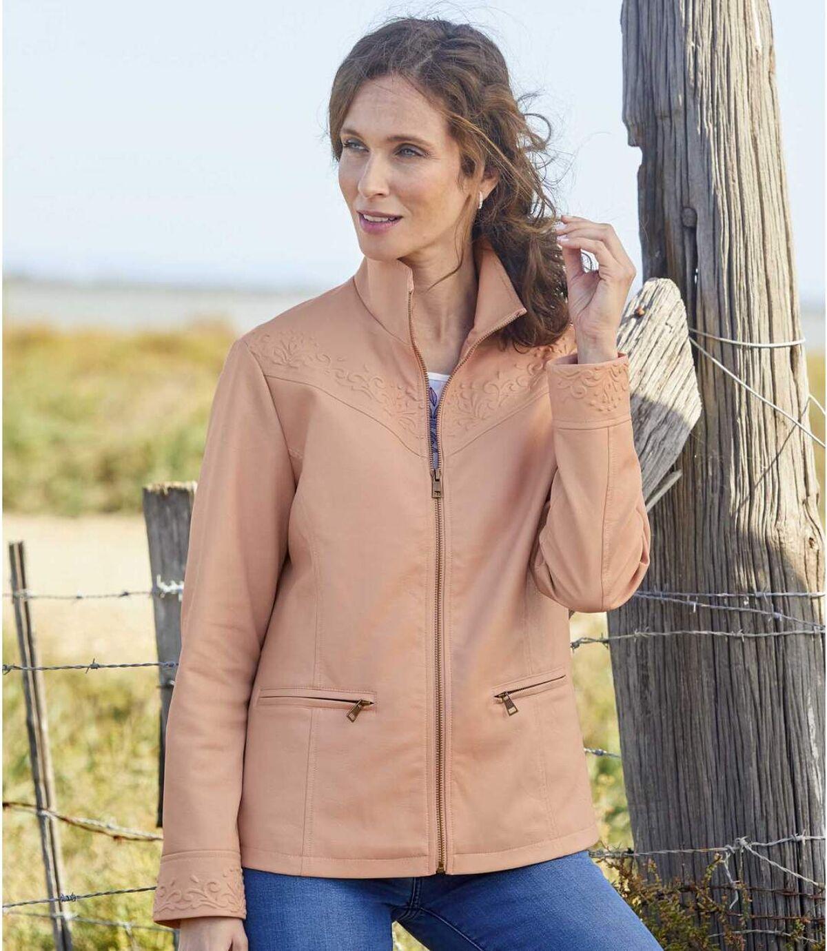 Women's Pink Faux-Leather Jacket  Atlas For Men