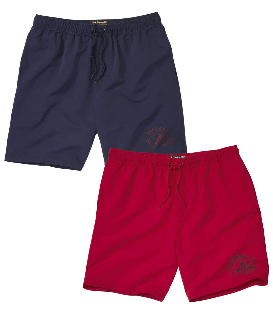Pack of 2 Men's Microfibre Sports Shorts - Red Navy